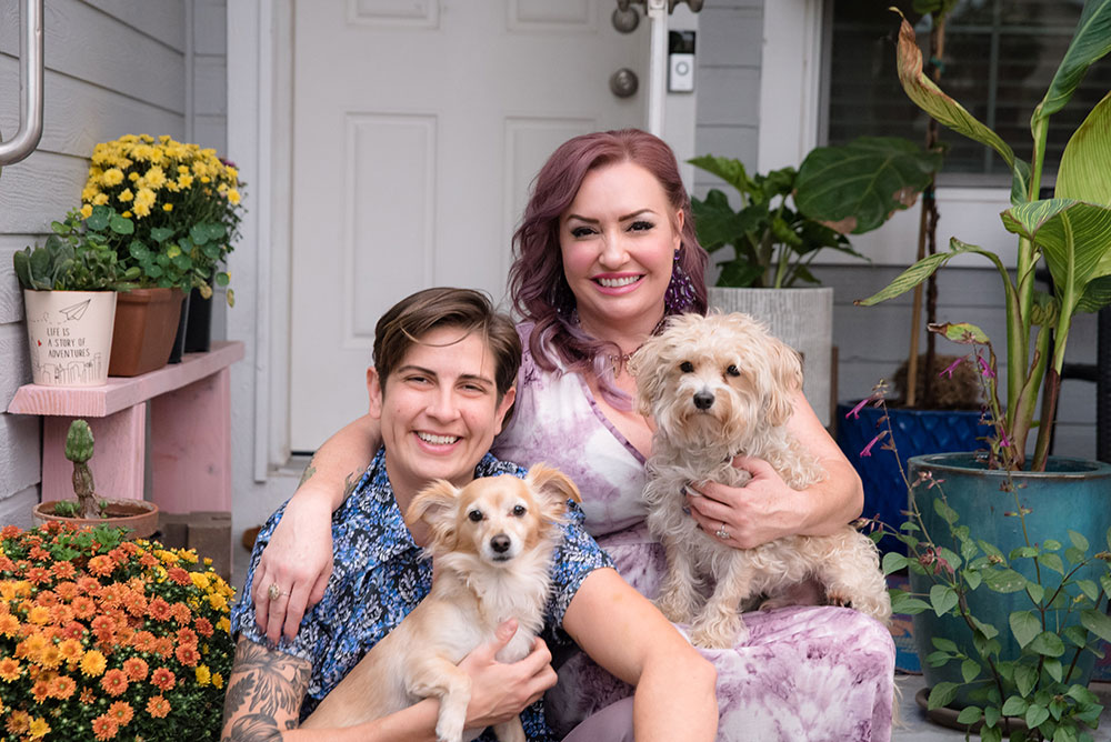 Amithyst with her partner Bianca, and their dogs.